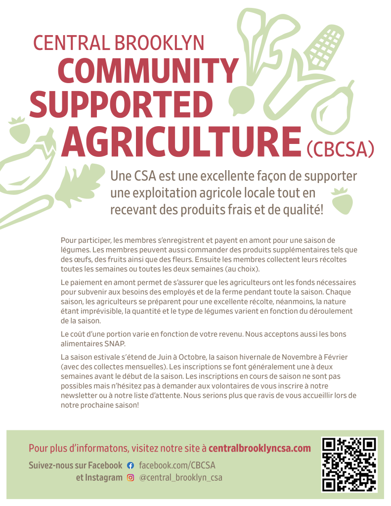 Central Brooklyn CSA flyer in French