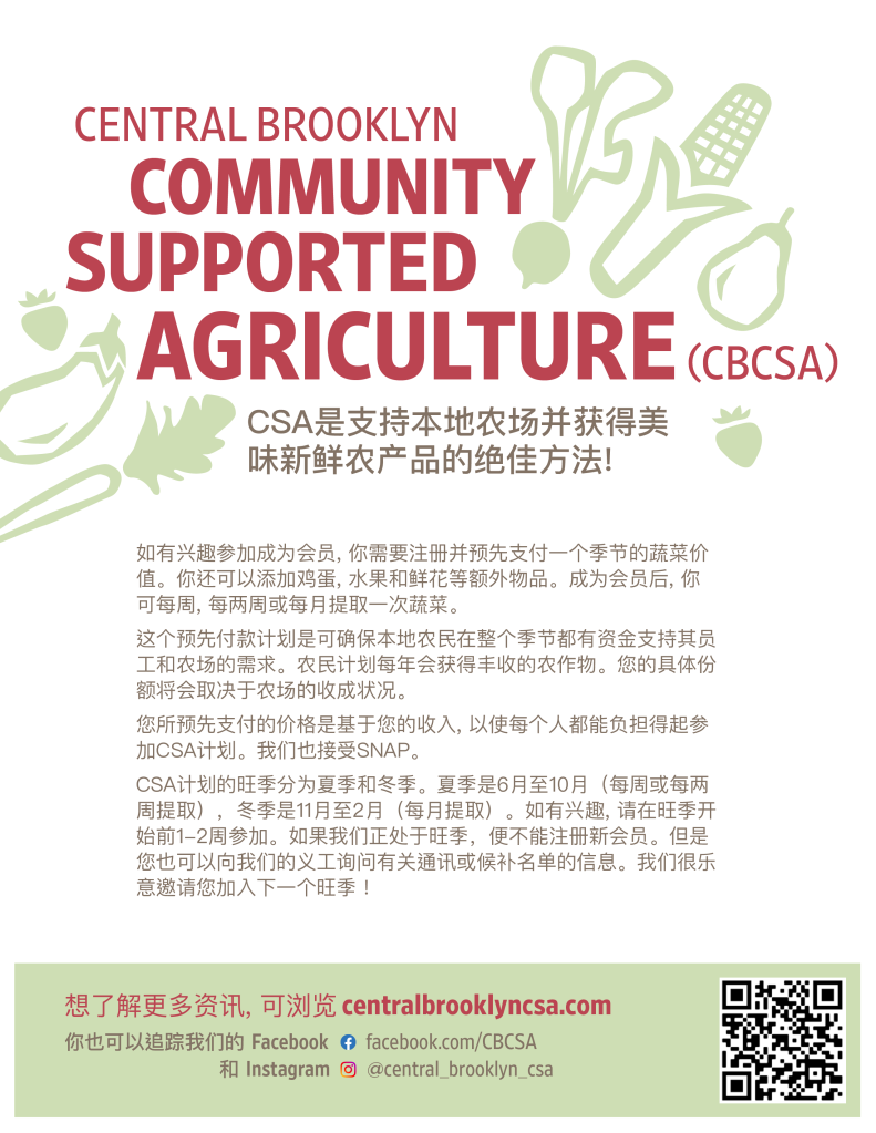 Central Brooklyn CSA flyer in Mandarin